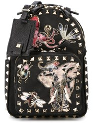 Valentino Garavani Small 'Rockstud' Embroidered Backpack Black