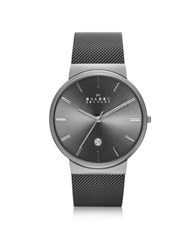Skagen Ancher Black Stainless Steel Case Men's Watch W Mesh Strap
