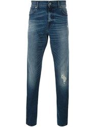 7 For All Mankind Stonewash Slim Fit Jeans Blue