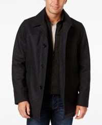 Nautica Wool Blend Layered Car Coat Charcoal