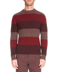 Berluti Thick Stripe Crewneck Sweater Red