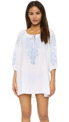 Juliet Dunn Tie Beach Tunic White Pale Blue
