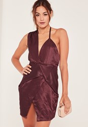 Missguided Purple Silky Wrap Dress Plum