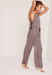 Missguided Pink And Black Striped Tie Side Pyjama Set