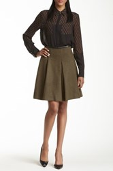 L.A.M.B. Wool Blend Pleated Skirt Green