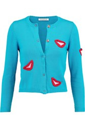 Vivetta Floris Intarsia Knitted Cotton Cardigan Blue