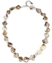 Robert Lee Morris Soho Silver Tone Shell Inspired Stone Statement Necklace