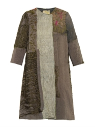 By Walid Vintage Chinese Patchwork Swing Coat