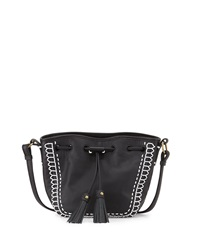 Isabella Fiore Bari Mini Drawstring Crossbody Bag Black