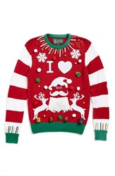 Junior Women's Ugly Christmas Sweater 'Make Your Own Red Stripe' Sweater Kit