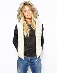 Puffa Hooded Gilet With Faux Fur Trim White
