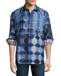 Robert Graham North Slope Diamond Woven Shirt Blue