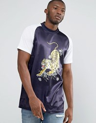 Jaded London Souvenir T Shirt With High Neck Navy