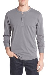 Nordstrom Men's Men's Shop Brushed Pima Cotton Long Sleeve Henley Grey Shade