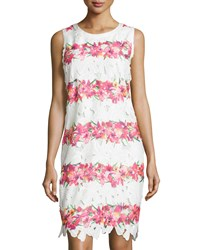 Neiman Marcus Floral Lace Sleeveless Sheath Dress Pink Multi