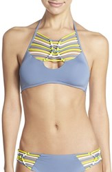 Women's Becca 'Electric Current' Macrame High Neck Halter Bikini Top