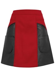 Coach Red Wool Blend And Leather Skirt