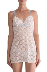 In Bloom By Jonquil Women's Racerback Lace Chemise Ivory Periwinkle