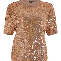 River Island Womens Gold Sequin Boxy T Shirt