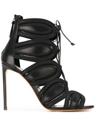Francesco Russo High Heel Cage Sandals Black