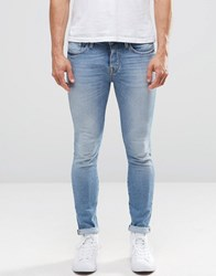 Selected Skinny Fit Stretch Jeans In Medium Blue Denim Blue