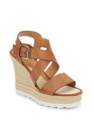 Catherine Malandrino Basilia Faux Leather Espadrille Wedge Sandals Brown