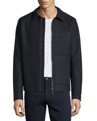 Vince Raw Edge Zip Up Utility Jacket Navy