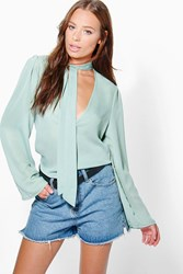 Boohoo Pussy Bow Plunge Blouse Sage