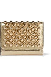 Christian Louboutin Macaron Mini Metallic Studded Leather Wallet Gold