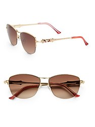 Judith Leiber 54Mm Rounded Square Sunglasses Gold
