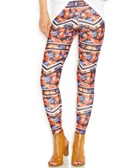 Material Girl Juniors' Abstract Floral Striped Leggings Abstract Floral Chevron