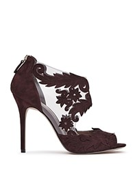 Reiss Beardsley Lasercut Lace Illusion Open Toe Sandals Berry