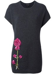 Giambattista Valli Flower Embellished Knit Blouse Grey