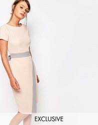 Closet 2 In 1 Midi Dress With Wrap Skirt And Contrast Creamtaupe