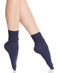 Hue Ruffle Lace Trim Socks Oxford Blue