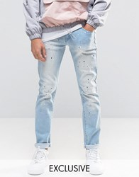Heros Heroine Hero's Slim Jeans With Paint Splatter Blue