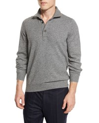 Brunello Cucinelli Cashmere Long Sleeve Polo Sweater Charcoal