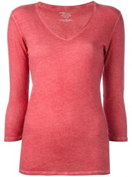 Majestic Filatures Longsleeved V Neck T Shirt Red