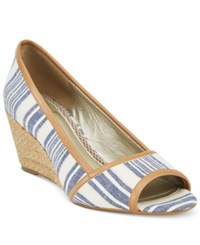 Easy Spirit Brigette Peep Toe Pumps Women's Shoes Blue Multi Natural