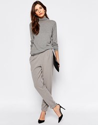 Selected Trina Masculine Pants With Rib Cuff Light Gray