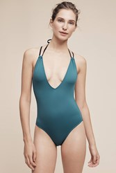 Anthropologie Solid And Striped Jade One Piece Dark Turquoise