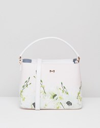 Ted Baker Top Handle Leather Tote Bag In Floral Print Pink