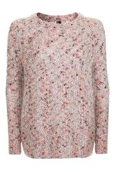 Topshop Nep Mohair Crew Jumper Pink