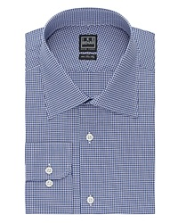 Ike Behar Mini Check Classic Fit Dress Shirt Blue