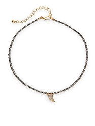 Cara Semi Precious Faceted Bead Strand Crystal Horn Pendant Necklace Gold