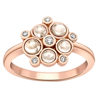 London Road 9Ct Gold Diamond Bubble Cluster Ring Rose Gold Moonstone