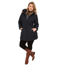 Jessica Simpson Plus Size Quilted Down With Faux Fur Trimmed Hood Navy Women's Clothing