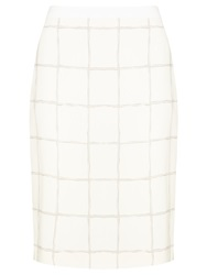 Boss Logo Boss Grid Pencil Skirt White
