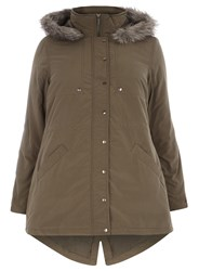 Evans Plus Size Khaki Cotton Fur Hood Parka