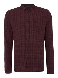 Label Lab Adams Mini Check Shirt Burgundy